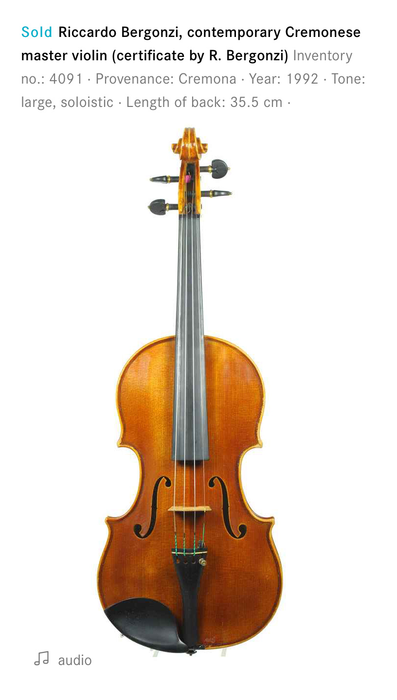Modern violin from Cremona