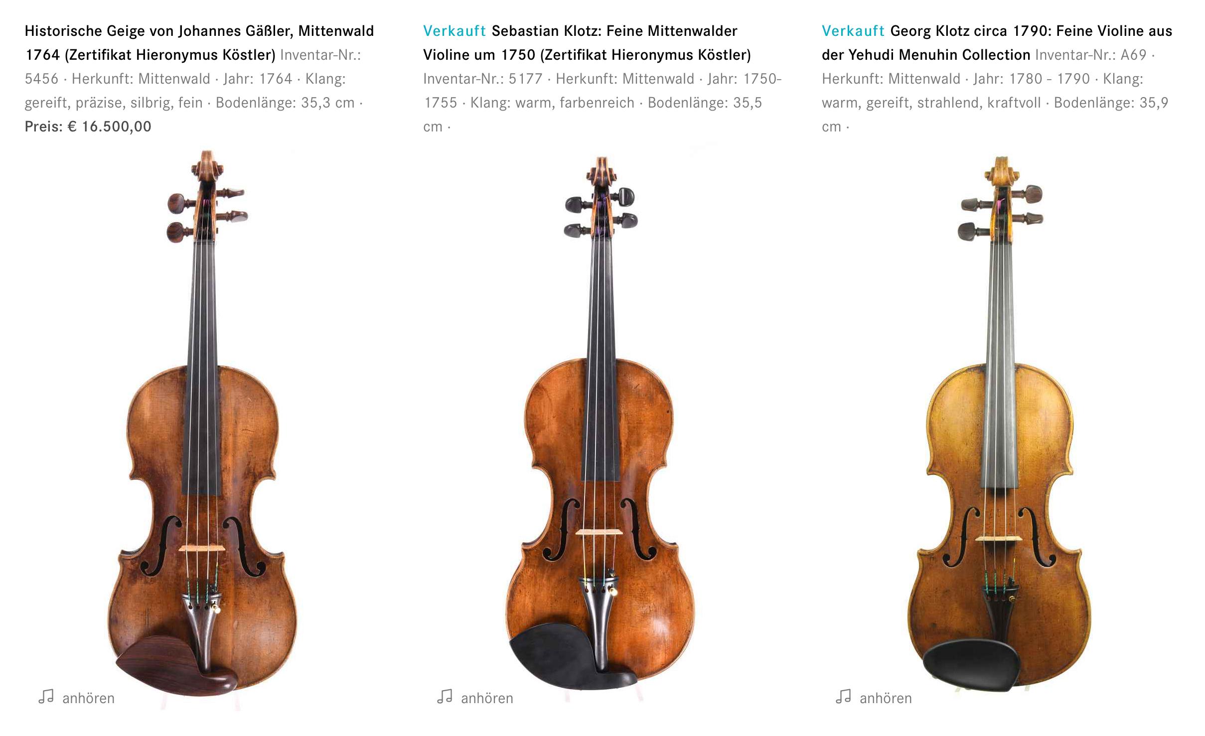 Berühmte Instrumente von Johannes Gäßler, Sebastian Klotz und Georg Klotz