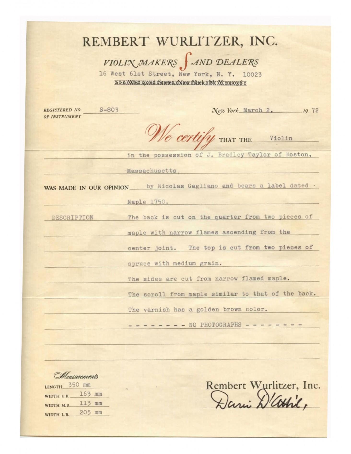 Rembert Wurlitzer certificate