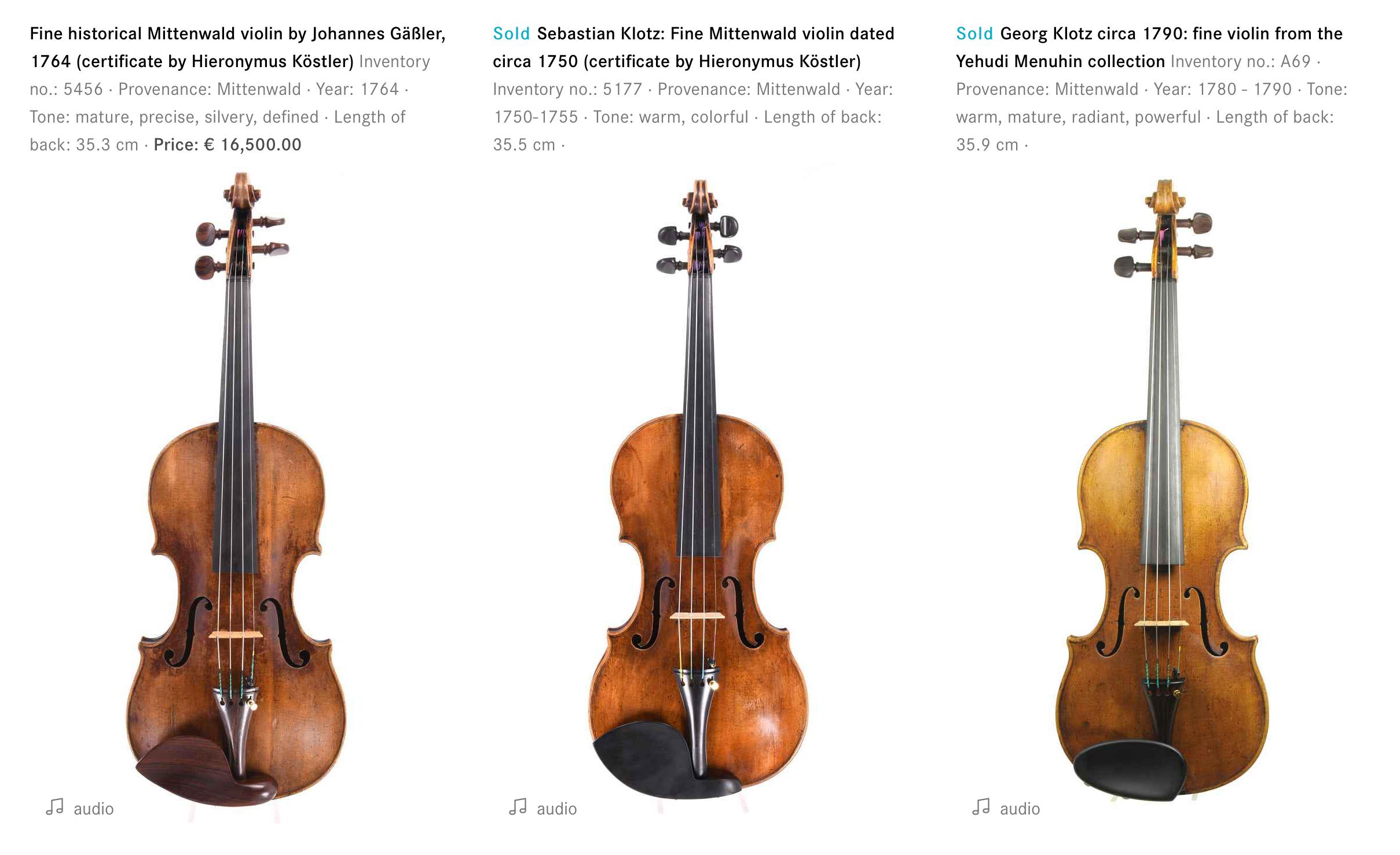 Three famous instruments by Johannes Gaessler, Sebastian Klotz and Georg Klotz