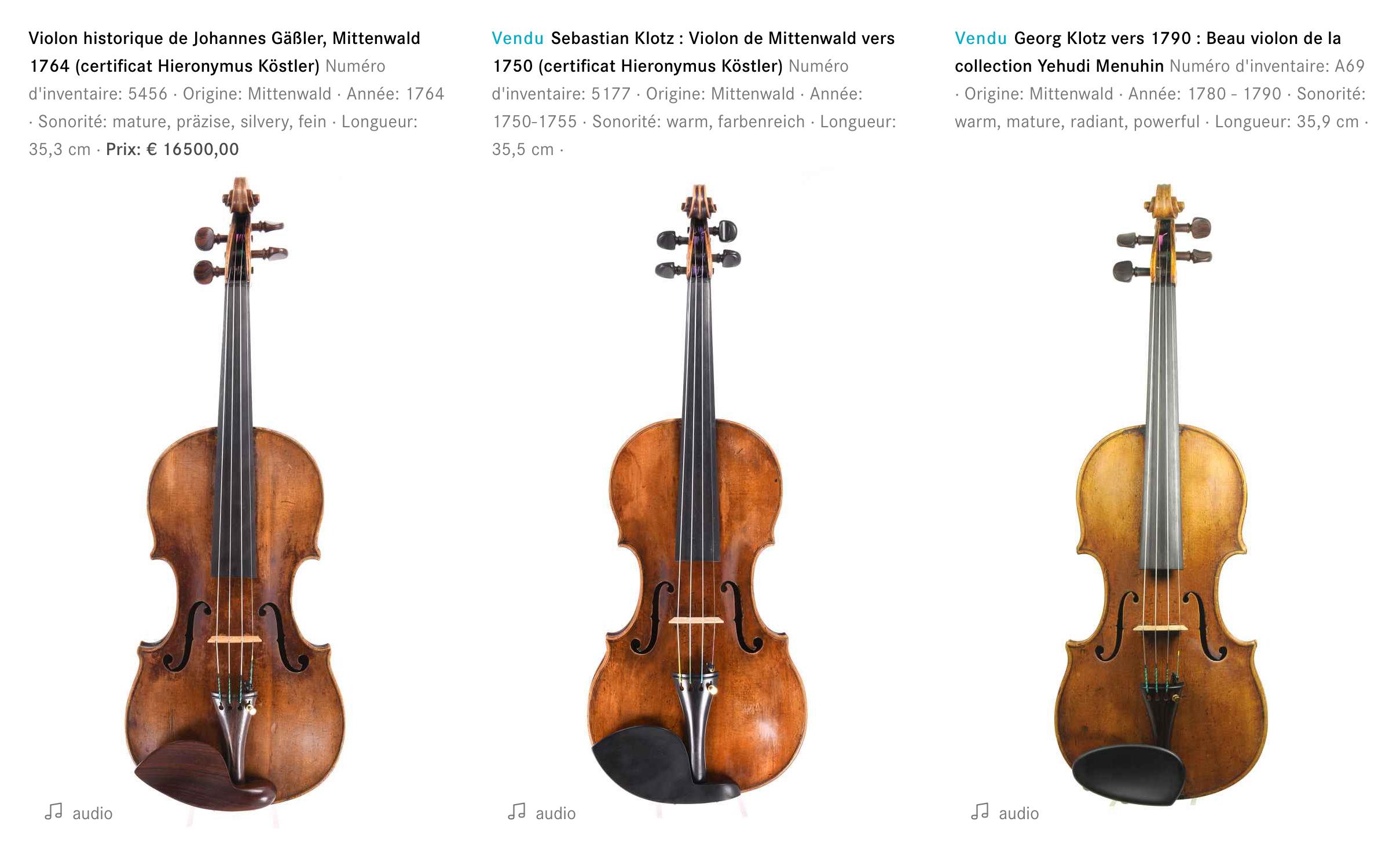 3 Instruments de Johannes Gaesslr, Sebastian Klotz et Georg Klotz