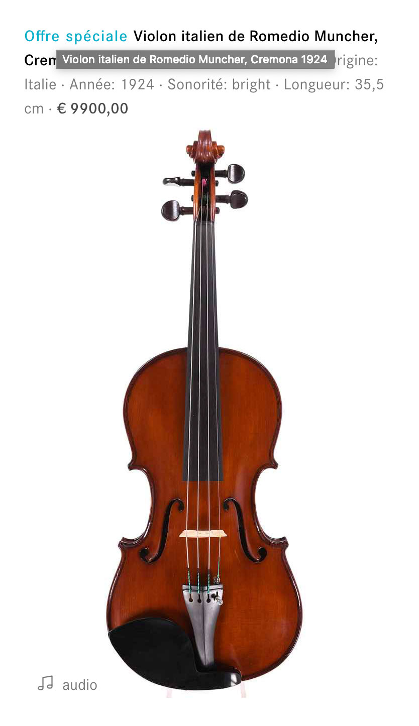Violon moderne de Crémone