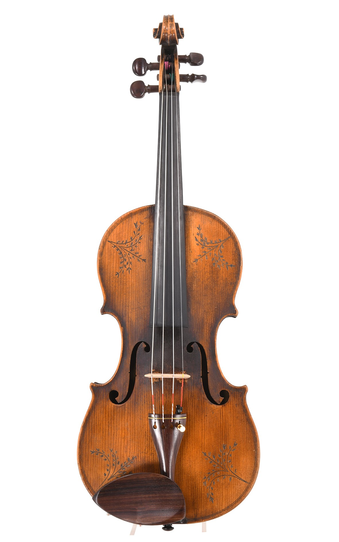 Old French Mirecourt violin with wood carvings, approx. 1900