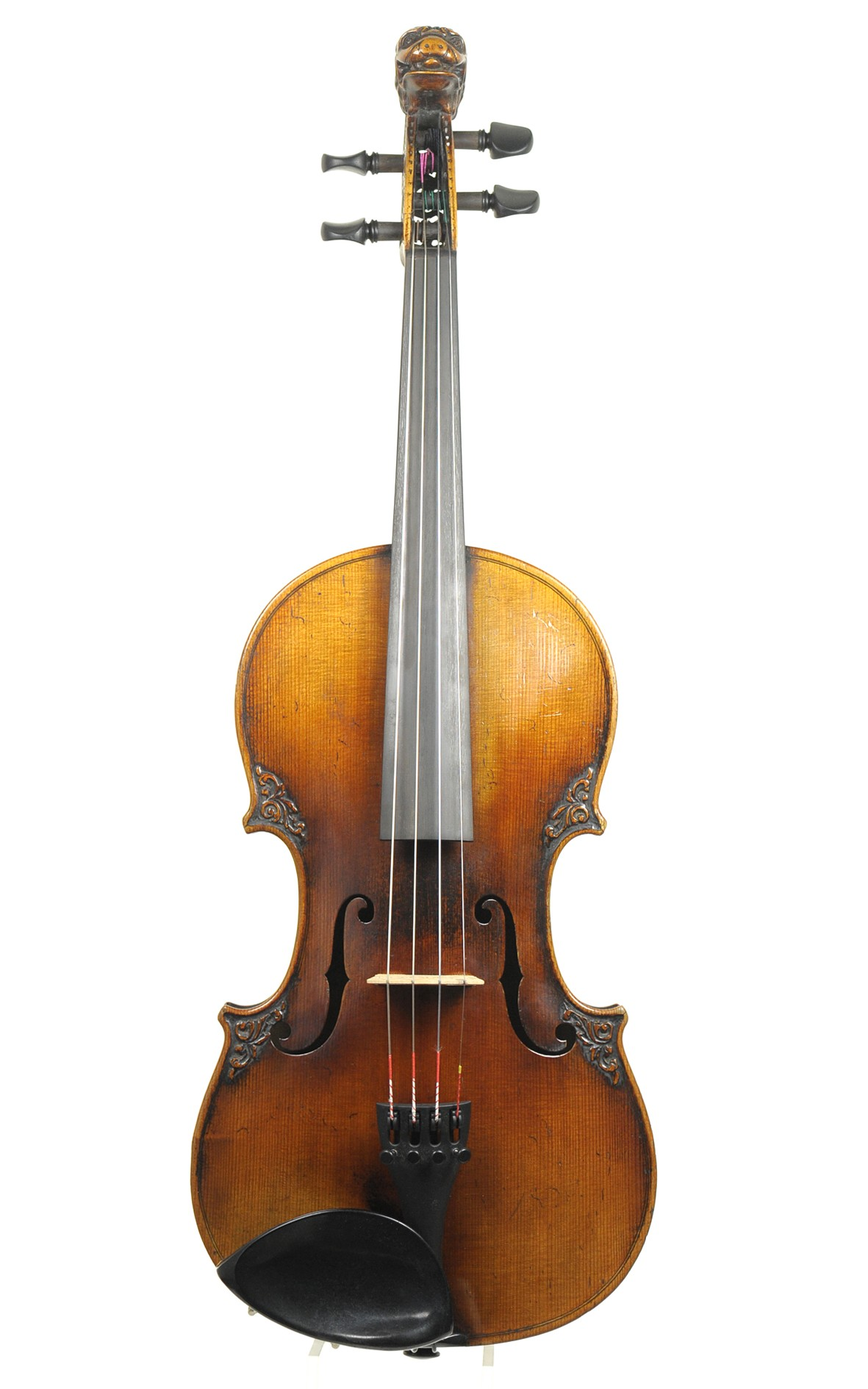 Lion head violin with wood carvings, France, 19th century - table